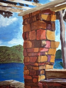 Stone Pillar at Silver Bay, NY. Lake George in the background.