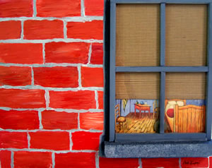 Bedroom Window in Brick Siding Mixed Media